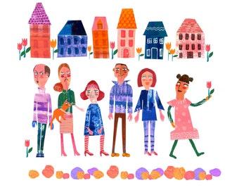 It Takes a Village 8x8 Giclee Fine Art Print