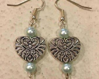 Heart & Blue Pearl Earrings