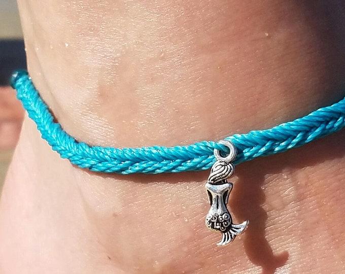 Mermaid Anklet, Choose A Color, Adjustable Surfer Bracelet