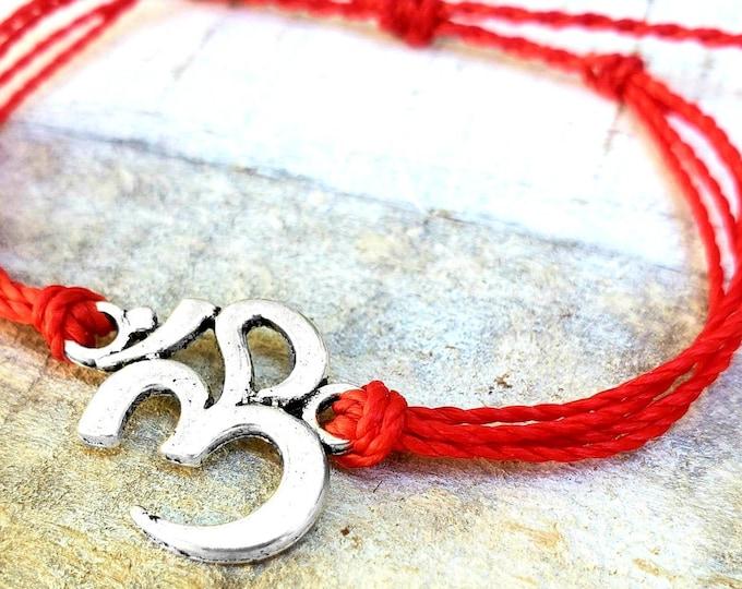 OM Bracelet, Choose Your Color, Yoga Bracelet, Adjustable Bracelet, Om Anklet