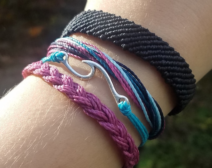 Ocean Wave Bracelet Pack, Wave Bracelet, Braided Bracelet, Adjustable, Friendship Bracelets
