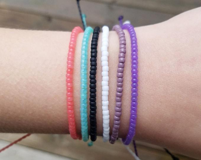Seed Bead Bracelet, Adjustable Pink Bracelet