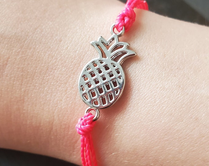 Pineapple Bracelet, Choose A Color, Adjustable Charm Bracelet, Pineapple Anklet