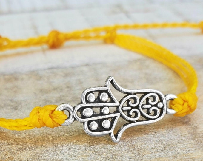 Hamsa Bracelet, Buddhist Bracelet, Choose A Color, String Bracelet