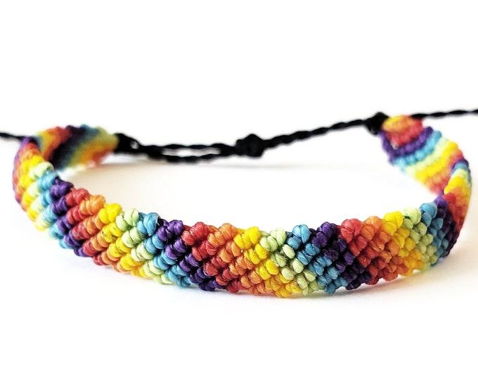 Rainbow Bracelet, Flat Braid Bracelet or Anklet, Waterproof, Adjustable