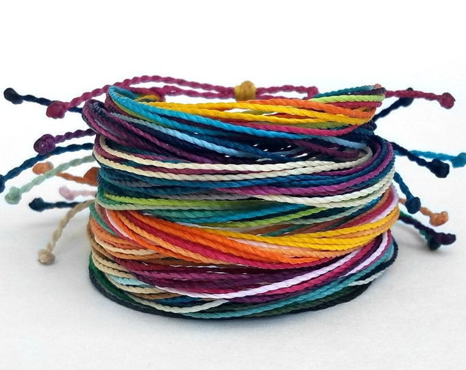 Friendship Bracelet Pack, Set of 10 Bracelets, Adjustable String Bracelets, Custom, Choose Your Colors