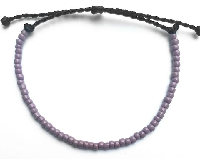 Seed Bead Bracelet, Adjustable Purple Bracelet