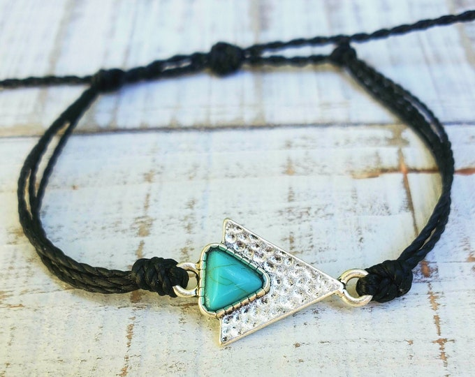 Turquoise Triangle Bracelet, Choose Your Color, Adjustable Waterproof Bracelet, Anklet