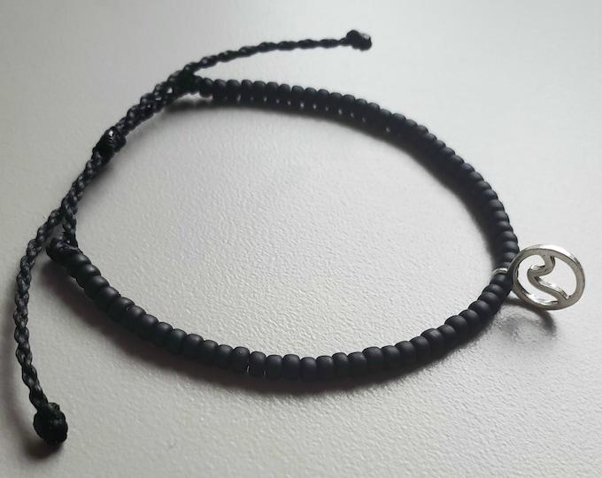 Mini Wave Bracelet, Black Beaded Bracelet, Adjustable, Wave Anklet, Surfer Bracelet