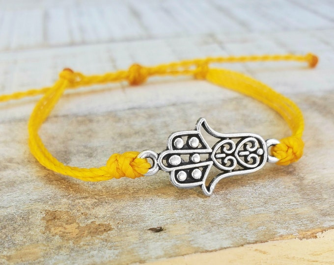 Hamsa Bracelet, Choose A Color, Adjustable Waterproof String Bracelet