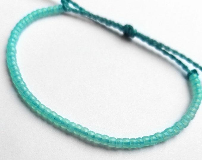 Aqua Blue Adjustable Seed Bead Bracelet, Surfer Bracelet
