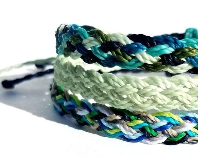 Multi Color Flat Braid Bracelet, Choose Your Colors, Adjustable Surfer Bracelets, Friendship Bracelets, Waterproof Boho Bracelet