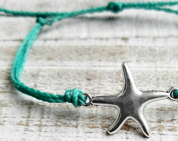 Starfish Bracelet, Choose A Color, Adjustable Waterproof, Starfish Anklet