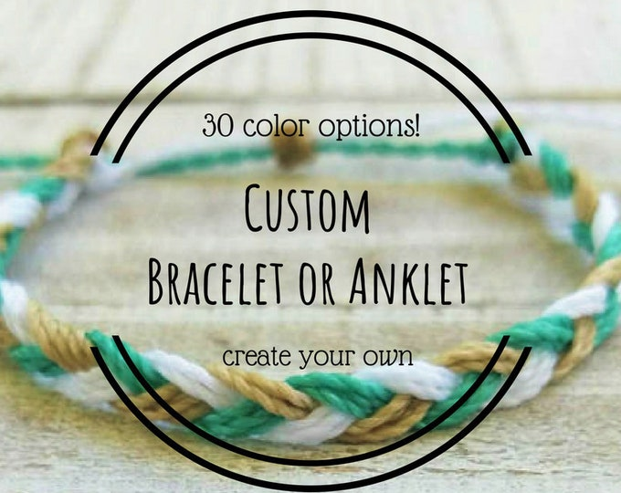 Braided Bracelet, Choose 3 Colors, Adjustable Waterproof Bracelet, Friendship Bracelets