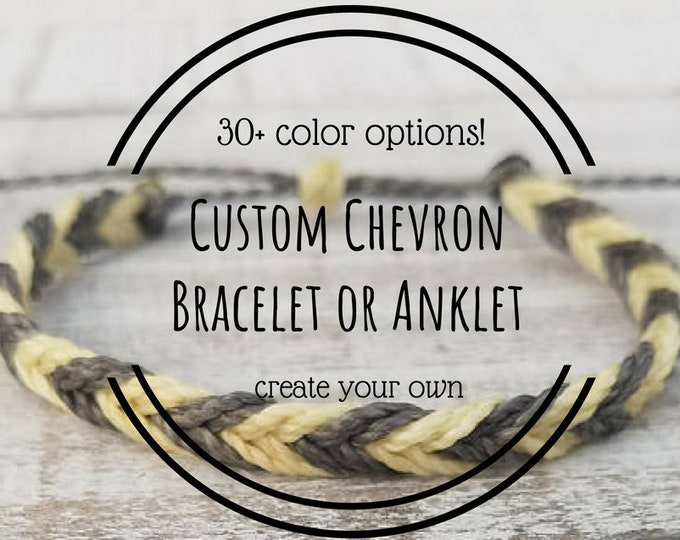 Chevron Bracelet, Choose 2 Colors, Adjustable Waxed Bracelets, Friendship Bracelets
