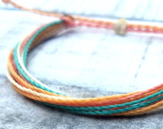 Pastel String Bracelet, Adjustable, Waterproof, Friendship Bracelet