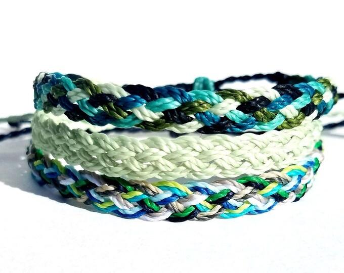 Multi Color Flat Braid Bracelet, Choose Your Colors, Adjustable Surfer Bracelets, Friendship Bracelets