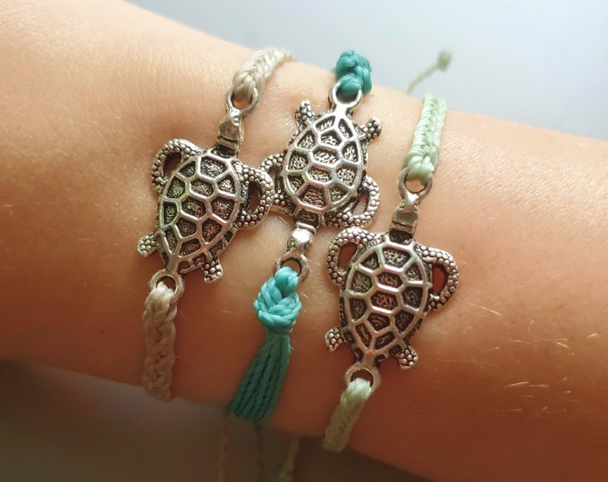 Braided Turtle Bracelet, Choose Your Braid, Choose Your Color, Adjustable Bracelet or Anklet, Waxed & Waterproof Bracelet