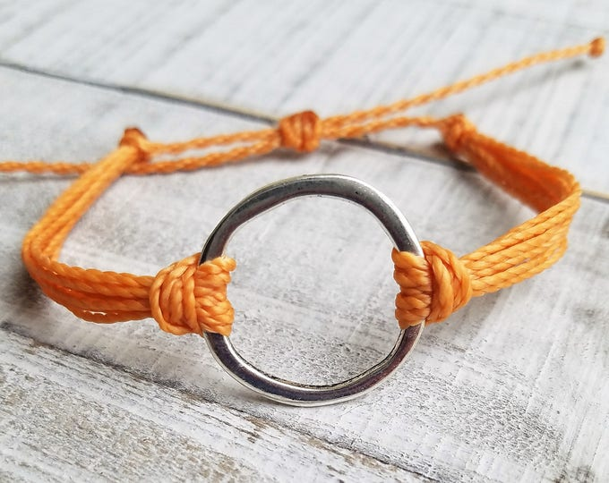 Orange Sun Bracelet, Choose Your Color, Waxed Circle Bracelet, Waxed Bracelets, Braided Bracelets, Circle Anklet, Full Moon Bracelet