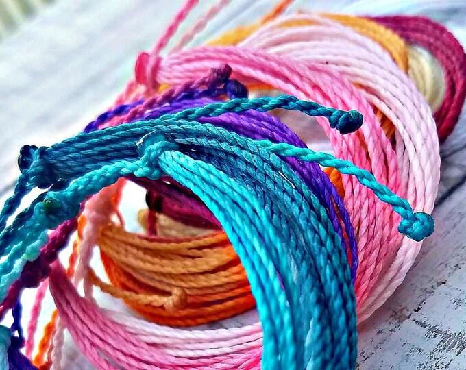 String Bracelet, Choose Your Color, Waxed, Waterproof, Adjustable Bracelet, Multi Strand Bracelet