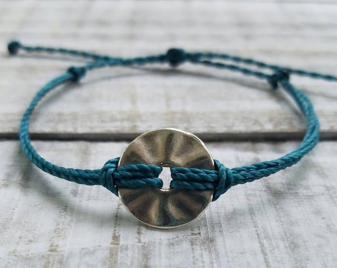 Circle Charm Bracelet, Choose Your Color, Adjustable Waterproof Bracelet, Surfer Anklet, Waxed Bracelet