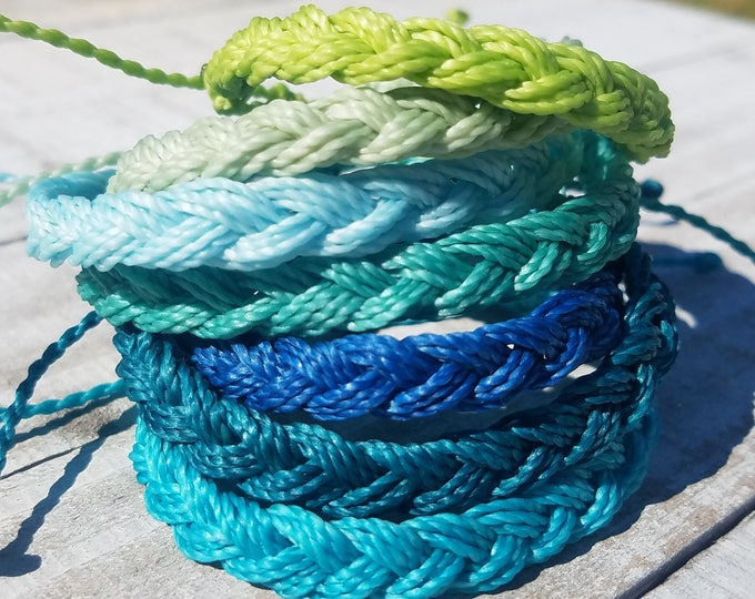 Braided Bracelet, Choose Your Color,  Adjustable Waterproof Bracelet, Boho Surfer Anklet
