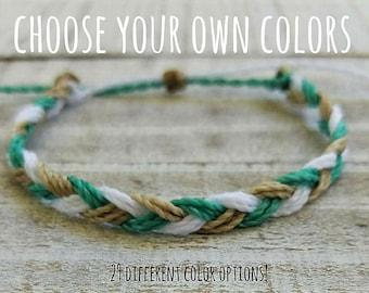 Braided Bracelet, Choose three colors, Beach Bracelet, Surfer Bracelet, Friendship Bracelet, Waterproof Bracelet, Braided Anklet