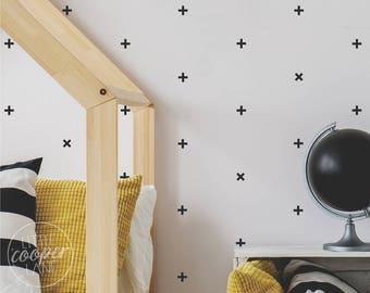 Plus Sign | VINYL Wall Decals | + x | Modern Crosses Stickers | 3cm / 5cm | Peel & Stick | Baby Boys Girls Nursery Kids Room Décor