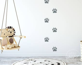 Lion Paw Prints Vinyl Decals | Animal Footprints, Tigar, Cat Foot Print Stickers Decorations | Boys Wall Decor, Baby Nursery, Kids Room