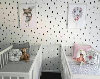 Watermelon Seeds | VINYL Wall Decals | Irregular Hand Drawn Polka Dots Stickers | Gender Neutral | Sets of 125 | Boy Girl Nursery Kids Room