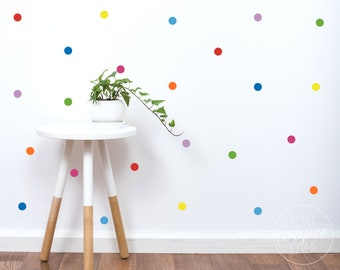 Rainbow Polka Dots | VINYL Wall Decals | Colorful Confetti Spots | Round Circles Stickers | Size Options | Baby Nursery Boys Girls Kids Room