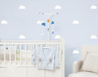 Clouds   VINYL Wall Decals   Fluffy Clouds Sky Stickers   10cm (4 inch)   Peel & Stick   Baby Nursery Boys Girls Kids Room Décor