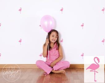 Flamingos | VINYL Wall Decals | 9cm (3.5 inch) | Fun Modern Animal Pink Bird Stickers | Baby Boys Girl Kids Teens Nursery Room Décor