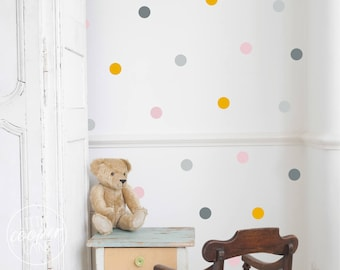 Polka Dots 4cm   VINYL Wall Decals   1.6 Inch Round Spots Circles Stickers   4 Colours   Baby Boys Girls Nursery Kids Room Décor