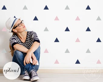 Triangles | VINYL Wall Decals | 7.5cm (3 Inch) | 120 Pack | 3 Colours | Geometric Shapes Stickers | Baby Boys Girls Nursery Kids Room Décor