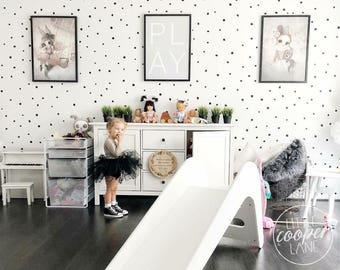 MINI Hand Drawn Polka Dots | Irregular Spots Modern Wall Decal Vinyl Stickers | Sets of 260 | Baby Boys & Girls Nursery, Kids, Room