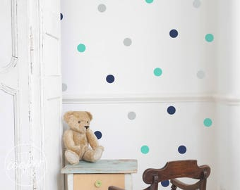Polka Dots 4cm   VINYL Wall Decals   1.6 Inch Round Spots Circles Stickers   3 Colours   Baby Boys Girls Nursery Kids Room Décor