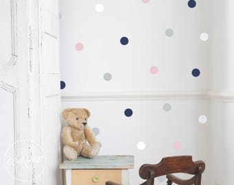 Polka Dots 4cm   VINYL Wall Decals   1.6 Inch Round Spots Circles Stickers   Multi Colours   Baby Boys Girls Nursery Kids Room Décor