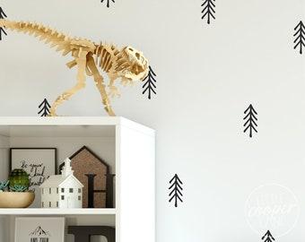 Woodland Trees | VINYL Wall Decals | Irregular Hand Drawn Stickers | Wilderness Forest Wild Pine Trees | Baby Boy Nursery Kids Room Décor