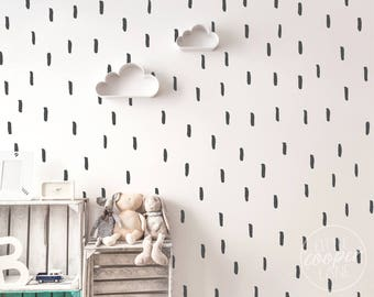 Paint Brush Strokes   VINYL Wall Decals   Hand Drawn Stripes Lines Stickers   Wallpaper Alternative   Boys Girls Baby Nursery Kids Room