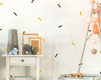 Wiggle Confetti   VINYL Wall Decals   Colorful Modern Wavy Lines Stickers   Multiple Colours   Baby Boys Girls Nursery Kids Room Décor