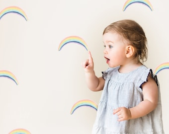 Watercolour Rainbows   Multi-Coloured   Reusable FABRIC Wall Decals Eco Friendly   Peel & Stick   Watercolor Arch Nursery Decal