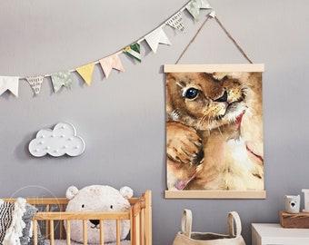Lion Cub | Nursery Print | A2, A3, A4 | Satin Finish 260gsm | Cute Watercolour Shy Cat Jungle Animal