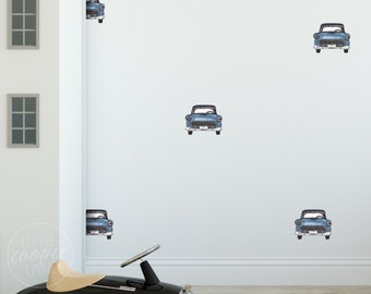 MINI Retro Cars | Rainbow Colours | Reusable FABRIC Wall Decals Eco Friendly | Peel & Stick | Classic Style Watercolor Vehicle Nursery Decal