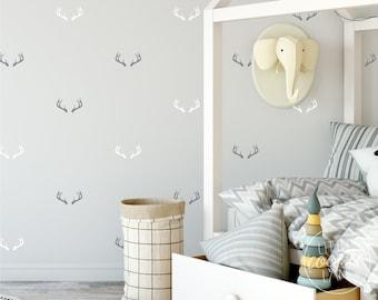 Stag Antlers | VINYL Wall Decals | Peel & Stick | Deer Doe Horns Stickers | Wilderness Forest Wild Animal | Boys Girl Baby Nursery Kids Room
