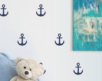 Anchors   VINYL Wall Decals   Peel & Stick   Wallpaper Alternative   Nautical Ocean Sea Boat Ship   Boys Girls Baby Nursery Kids Room Décor