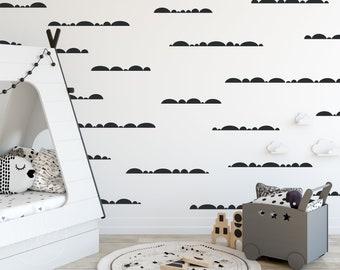 Half Moon MIX   VINYL Wall Decals   Wallpaper Alternative   Hand Drawn Irregular Hills Polka Dot Stickers   Boys Girl Baby Nursery Kids Room