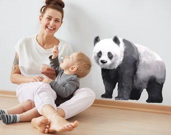 Watercolor Panda Decal | Reusable FABRIC Wall Decal - Eco Friendly | Peel and Stick | Wild Panda Bear Watercolour Animal Nursery Decals