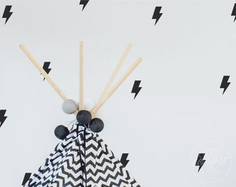 Lightning Bolts | VINYL Wall Decals | 9cm (3.5 Inch) | Electric Flash Thunderbolt Storm Stickers | Baby Boys Girls Nursery Kids Room Décor