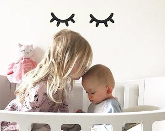 Sleepy Eyes | VINYL Wall Decals | Closed Eyes Pair Eyelashes Stickers | Baby Boys Girls Nursery Kids Room Décor